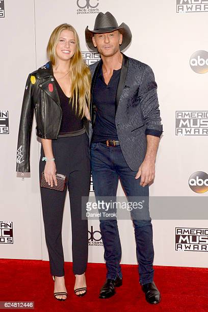 Maggie McGraw and Tim McGraw arrive at the 2016 American Music Awards at Microsoft Theater on November 20 2016 in Los Angeles California