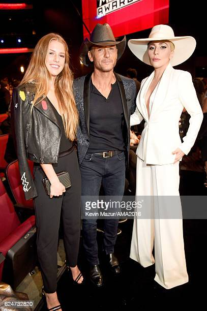 Maggie McGraw singer Tim McGraw and singer Lady Gaga attend the 2016 American Music Awards at Microsoft Theater on November 20 2016 in Los Angeles...