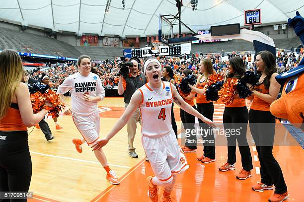 Maggie Morrison of the Syracuse Orange reacts while leaving the court following the game against the Albany Great Danes in the second round of the...
