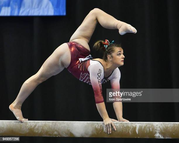 Maggie Nichols of Oklahoma performs on the beam during the NCAA Women's Gymnastics National Championship second round on April 20 at Chaifetz Arena...