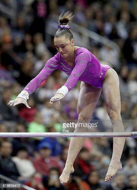 Maggie Nichols of the United States competes on the uneven parallel bars during the 2016 ATT American Cup on March 5 2016 at Prudential Center in...