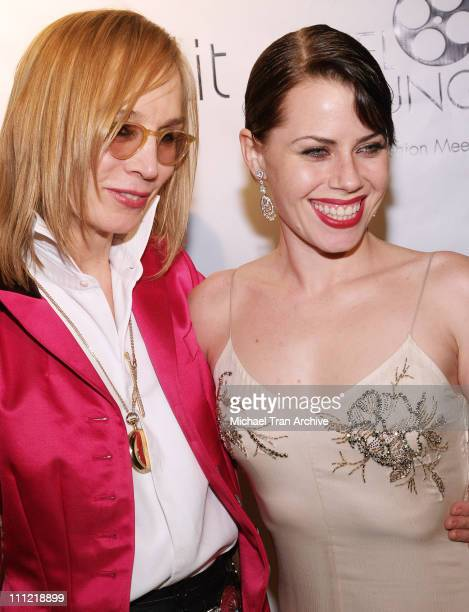 Maggie Norris clothing designer and Fairuza Balk during Film Foundation PreOscar Party Arrivals at Aqua Lounge in Beverly Hills California United...