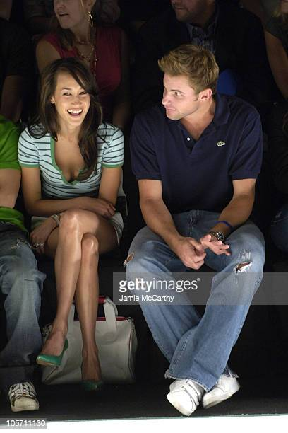 Maggie Q and Andy Roddick during Olympus Fashion Week Spring 2006 Lacoste Front Row and Backstage at Bryant Park in New York City New York United...