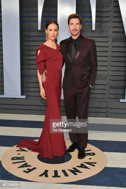 Maggie Q and Dylan McDermott attend the 2018 Vanity Fair Oscar Party hosted by Radhika Jones at Wallis Annenberg Center for the Performing Arts on...