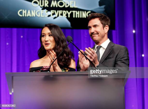 Maggie Q and Dylan McDermott attend the 8th annual Unstoppable Foundation Gala at The Beverly Hilton Hotel on March 25 2017 in Beverly Hills...