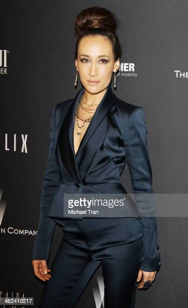 Maggie Q arrives at The Weinstein Company and NetFlix 2014 Golden Globe Awards after party held on January 12, 2014 in Beverly Hills, California.