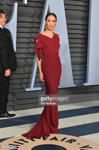 Maggie Q attends the 2018 Vanity Fair Oscar Party hosted by Radhika Jones at Wallis Annenberg Center for the Performing Arts on March 4 2018 in...