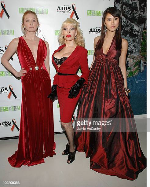 Maggie Rizer Amanda Lapore and Miss Universe Riyo Mori attend the New York Aids Film Festival Red Ball at The Riverhouse Sales and Discovery Center...