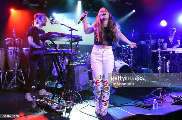 Maggie Rogers performs during the YouTube @ SXSW showcase at the Coppertank during the 2017 SXSW Conference And Festivals on March 17 2017 in Austin...