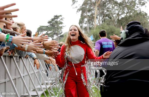 Maggie Rogers performs on the Twin Peaks Stage during the 2017 Outside Lands Music And Arts Festival at Golden Gate Park on August 13 2017 in San...