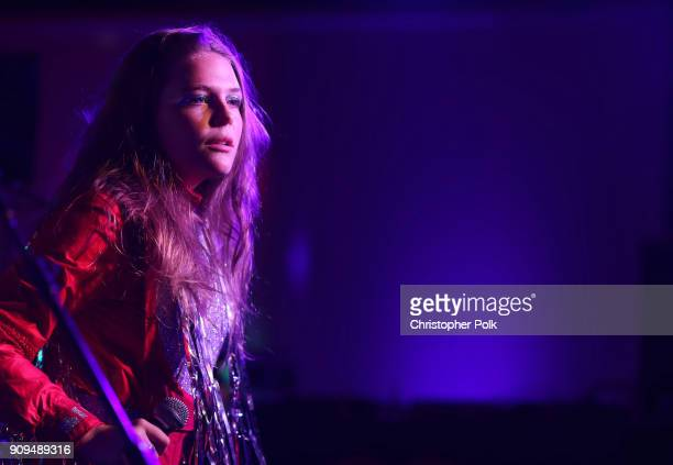 Maggie Rogers performs onstage during Spotify and Mastercard present St Vincent and Maggie Rogers at Mastercard House on January 23 2018 in New York...