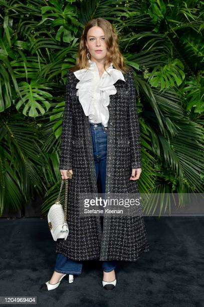 Maggie Rogers wearing CHANEL attends CHANEL and Charles Finch PreOscar Awards Dinner at Polo Lounge at The Beverly Hills Hotel on February 08 2020 in...