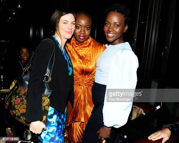 Maggie Siff Danai Gurira and Lupita Nyong'o attend The Cinema Society with Ravage Wines Synchrony host the after party for Marvel Studios' 'Black...