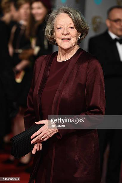 Maggie Smith attends the EE British Academy Film Awards at the Royal Opera House on February 14 2016 in London England