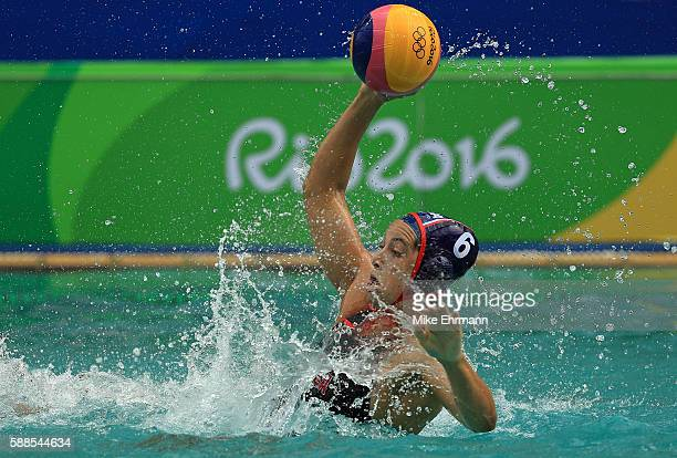 Maggie Steffens of United States passes during a Womens Preliminary match against China on Day 6 of the 2016 Rio Olympics at Maria Lenk Aquatics...