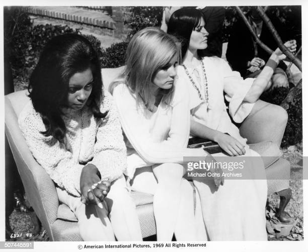 Maggie Thrett Judy Pace Yvette Mimieux discover they are dating the same man in a scene from the movie Three in the Attic circa 1969