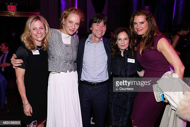 Maggie Towles Actress Uma Thurman Director Ken Burns Julie Deborah Brown and Brooke Shields attend the 2014 Room To Grow Gala at Capitale on April 8...