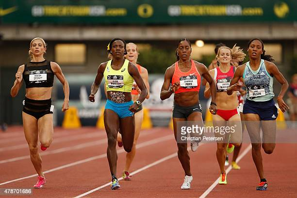 Maggie Vessey Alysia Montano Chanelle Price and Ajee Wilson compete in the Women's 800 Meter Run during day two of the 2015 USA Outdoor Track Field...