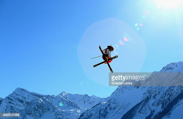 Maggie Voisin of the USA trains during Ski Slopestyle practice at the Extreme Park at Rosa Khutor Mountain ahead of the Sochi 2014 Winter Olympics on...