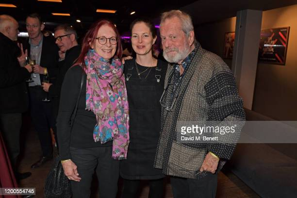 Maggie Weston Holly Gilliam and Terry Gilliam attend a drinks reception celebrating Amanda Nevill as she departs her role as CEO of the British Film...