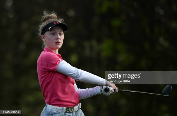 Maggie Whitehead of Close House in action during the final round of the R&A Girls U16 Amateur Championship at Fulford Golf Club on April 28, 2019 in...