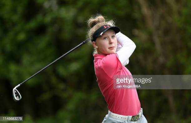 Maggie Whitehead of Close House in action during the final round of the RA Girls U16 Amateur Championship at Fulford Golf Club on April 28 2019 in...