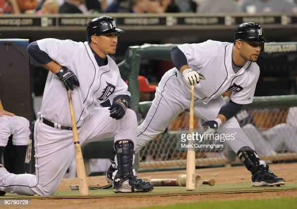 Magglio Ordonez and Placido Polanco of the Detroit Tigers wait in the ondeck circle to bat against the Toronto Blue Jays during the game at Comerica...