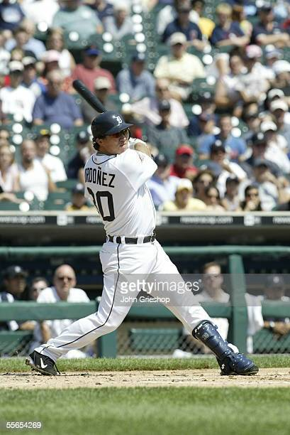 Magglio Ordonez of the Detroit Tigers bats during the game against the Boston Red Sox at Comerica Park on August 17, 2005 in Detroit, Michigan. The...