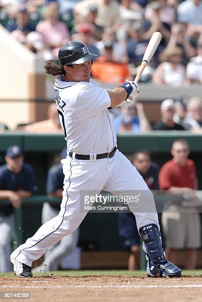Magglio Ordonez of the Detroit Tigers bats during the game against the Cleveland Indians at Joker Marchant Stadium in Lakeland Florida on March 1...
