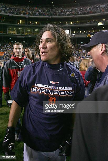 Magglio Ordonez of the Detroit Tigers celebrates after winning Game Four of the American League Championship Series against the Oakland Athletics on...