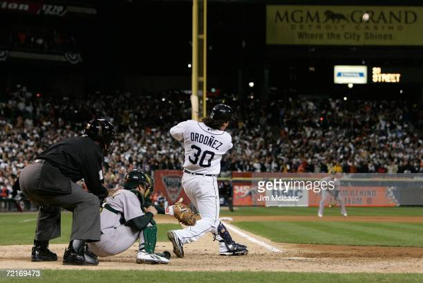 Magglio Ordonez of the Detroit Tigers hits a walkoff 3run home run against Huston Street of the Oakland Athletics during Game Four of the American...