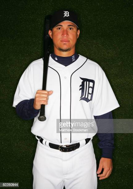 Magglio Ordonez of the Detroit Tigers poses for a portrait during Tigers Photo Day at Joker Marchant Stadium on February 27 2005 in Lakeland Florida