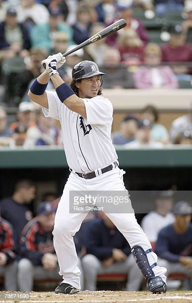 Magglio Ordonez of the Detroit Tigers stands ready at bat during a Spring Training game against the Cleveland Indians on March 32007 at Joker...