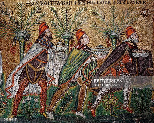 Magi Kings being guided by a star mosaic north wall lower level Basilica of Sant'Apollinare Nuovo Ravenna EmiliaRomagna Italy 6th century