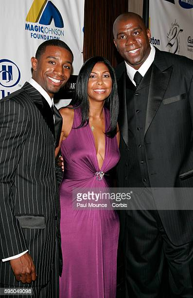 Magic Cookie Johnson and son Andre Johnson arrive at the 'Magic Evolution' Gala held to honor Earvin 'Magic' Johnson for 25 years of business success