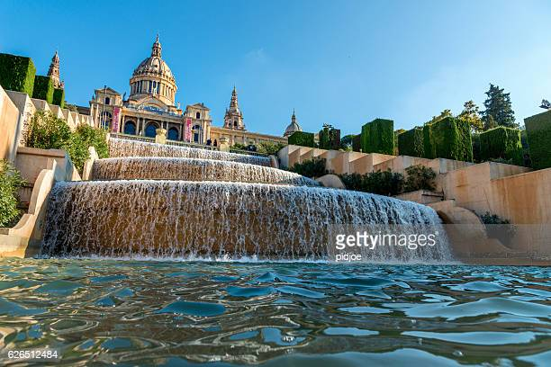 Magic Fountain  and Museum of national art in Barcelona, Spain