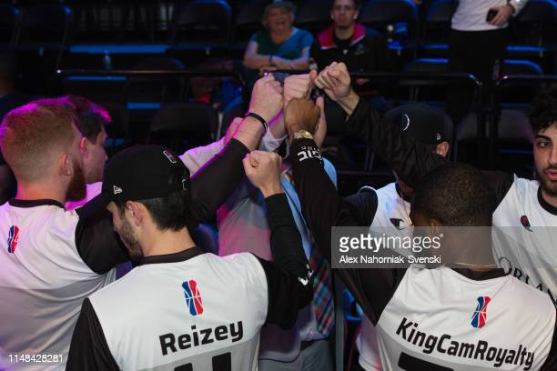 Magic Gaming huddles during the game against Heat Check Gaming during Week 8 of the NBA 2K League regular season on June 6 2019 at the NBA 2K Studio...