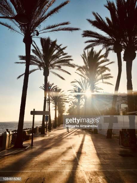 magic hour at the beach walk of marbella - マルベーリャ ストックフォトと画像
