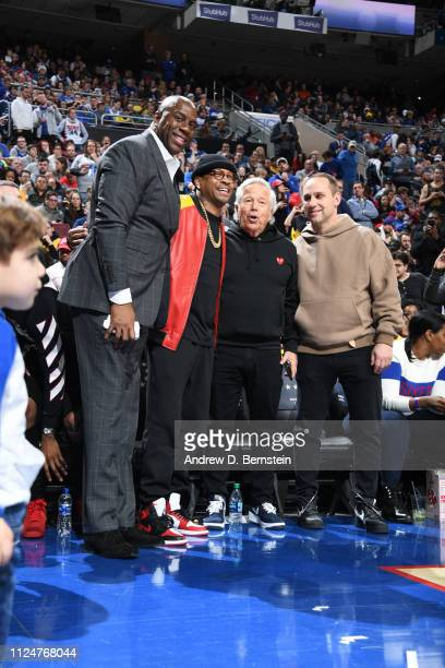 Magic Johnson Allen Iverson Robert Kraft and Michael Rubin attend the game between the Los Angeles Lakers and the Philadelphia 76ers on February 10...