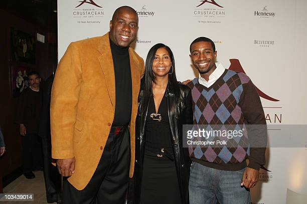 Magic Johnson and Cookie Johnson and son Andre arrive at Crustacean's Ten Year Anniverary with Perfomance by Patti LaBelle on January 262008 in...
