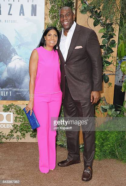 Magic Johnson and Cookie Johnson arrive at the Los Angeles Premiere The Legend Of Tarzan at TCL Chinese Theatre on June 27 2016 in Hollywood...