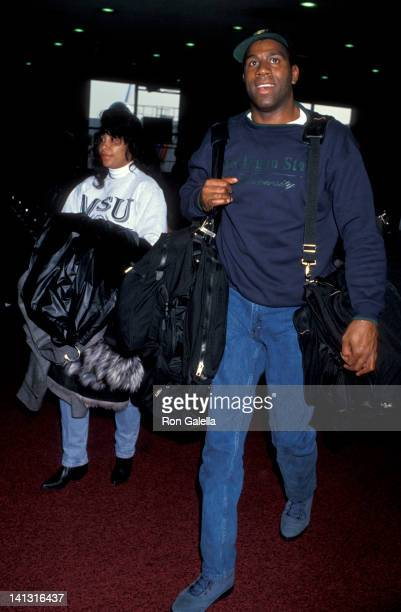 Magic Johnson and Cookie Johnson at the West Coast Premiere of 'Malcolm X' Academy Theater Beverly Hills