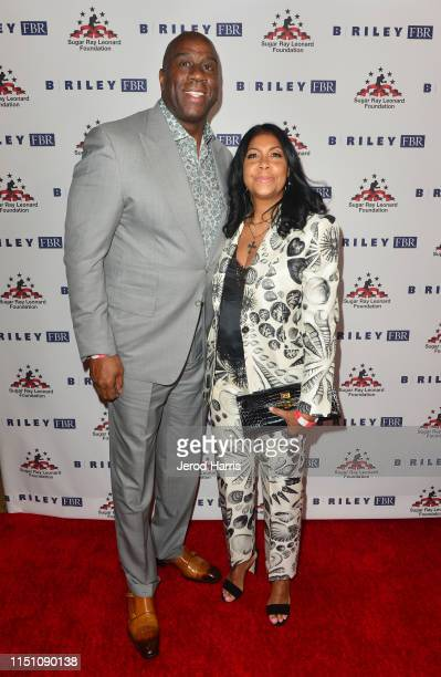 Magic Johnson and Cookie Johnson attend Sugar Ray Leonard Foundation's 10th Annual 'Big Fighters Big Cause' Charity Boxing Night Presented by B Riley...