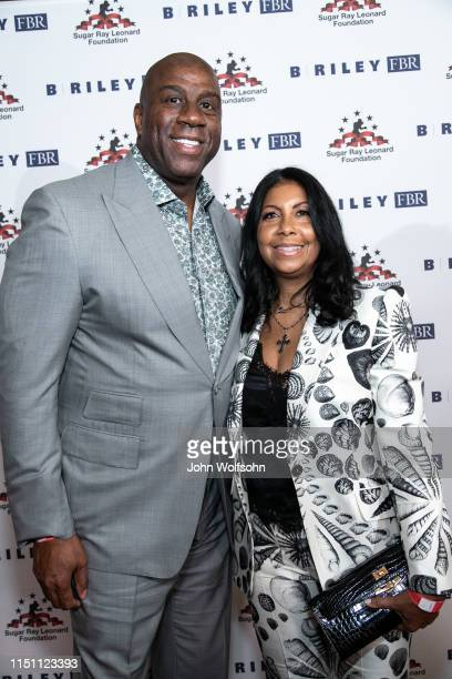 Magic Johnson and Cookie Johnson attend Sugar Ray Leonard Foundation's 10th Annual 'Big Fighters Big Cause' Charity Boxing Night at The Beverly...