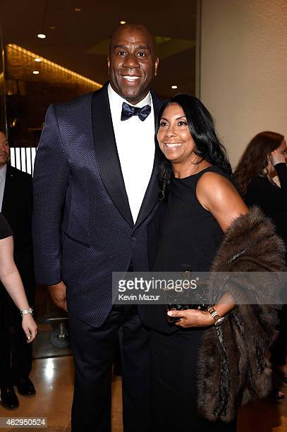 Magic Johnson and Earlitha Kelly attend the PreGRAMMY Gala And Salute To Industry Icons Honoring Martin Bandier at The Beverly Hilton on February 7...