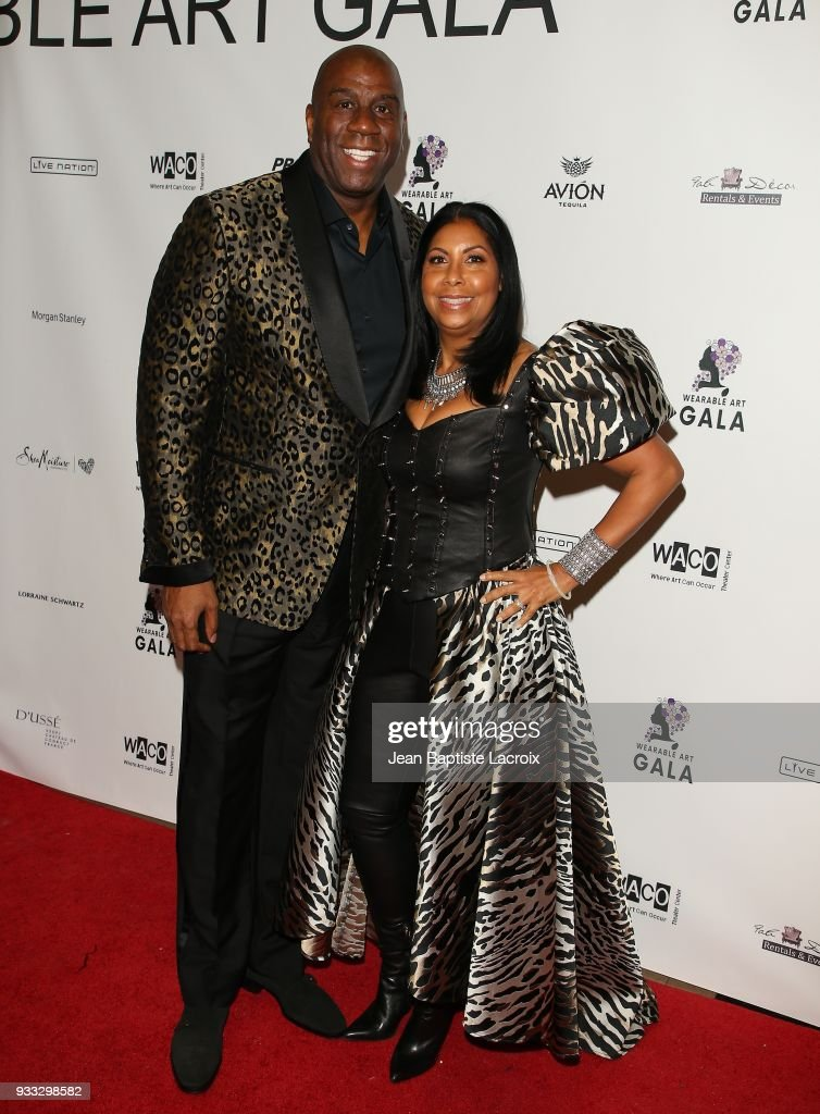 Magic Johnson and Earlitha Kelly attend WACO Theater's 2nd Annual Wearable Art Gala on March 17, 2018 in Los Angeles, California.