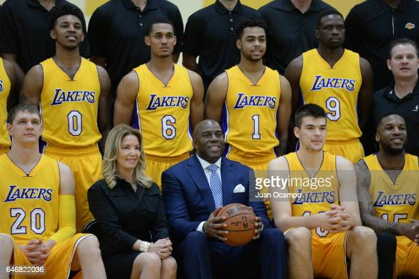 Magic Johnson and Jeannie Buss of the Los Angeles Lakers pose during the 20162017 Los Angeles Lakers team photo onFebruary 27 2017 at the The Toyota...