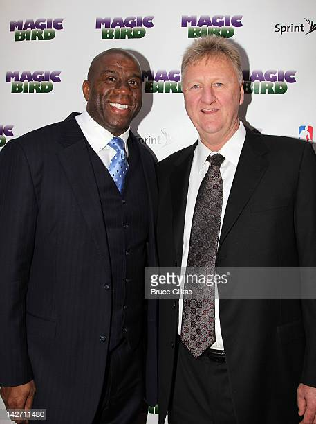 Magic Johnson and Larry Bird attend the 'Magic/Bird' Broadway opening night at the Longacre Theatre on April 11 2012 in New York City