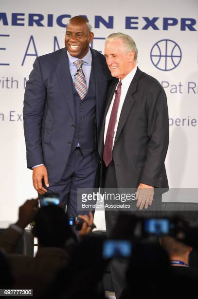 Magic Johnson and Pat Riley onstage during the American Express Teamed Up with Magic Johnson and Pat Riley on June 5 2017 at the Conga Room in Los...