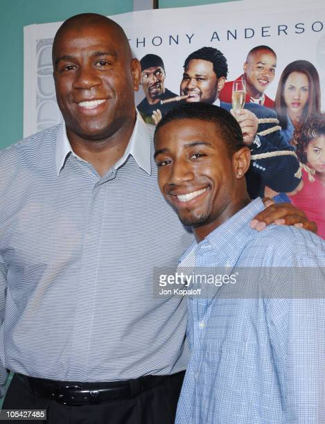 Magic Johnson and son Andre during 'King's Ransom' Los Angeles Premiere Arrivals at ArcLight Cinerama Dome in Hollywood California United States
